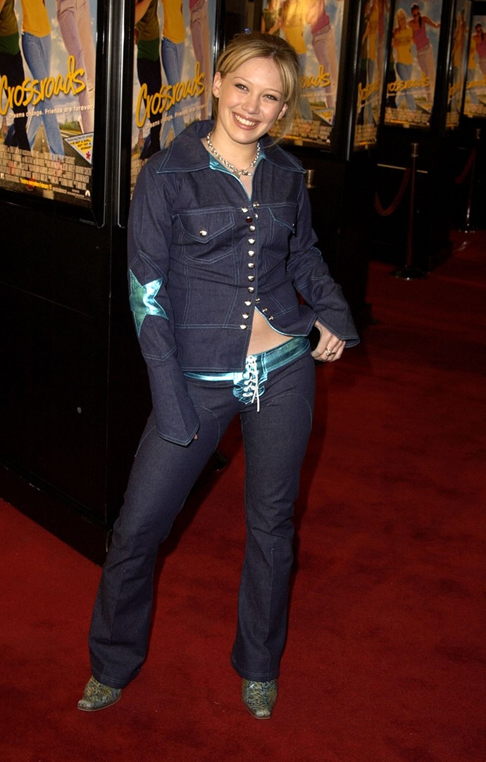As did double denim with lace up detailing.