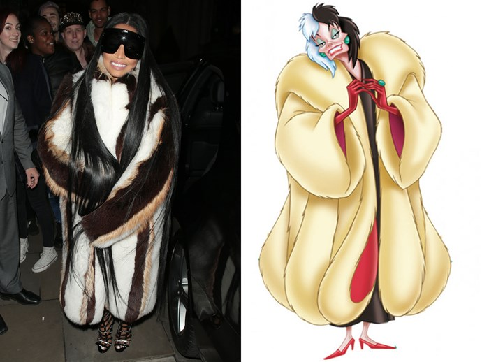 Okay, okay. They're not all princesses. But seriously, Nicki Minaj just stepped out looking like a dead ringer for Cruella De Vil and we couldn't let the opp pass us by.