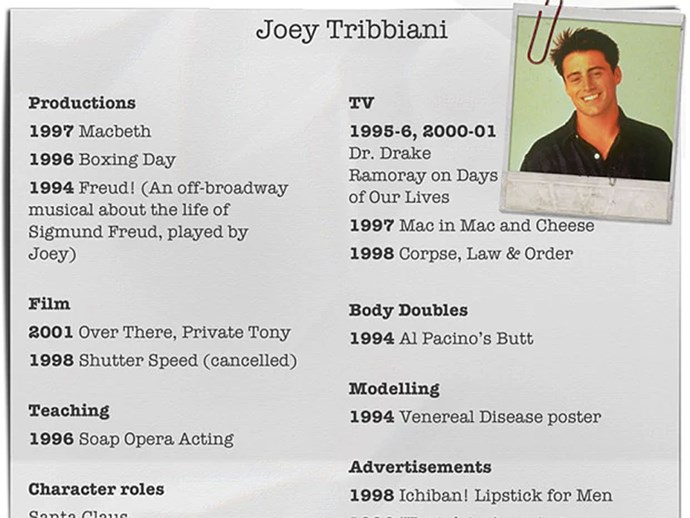 Joey Tribbiani CV