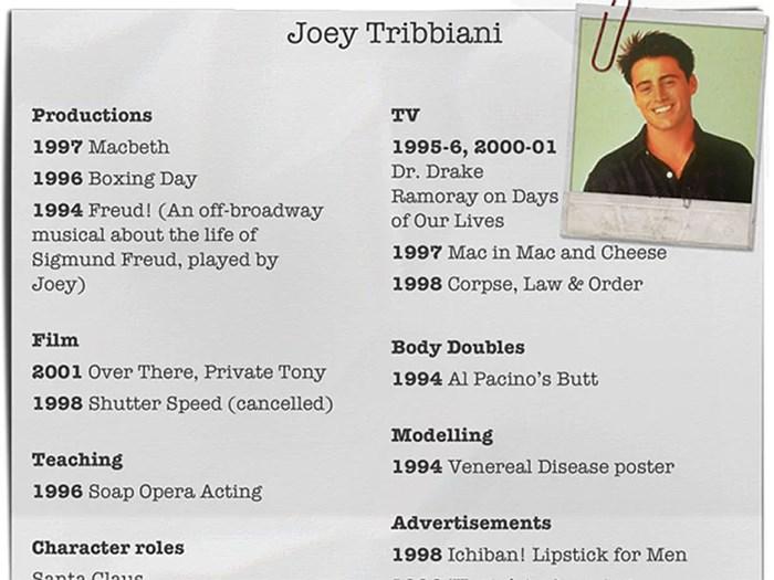 Joey Tribbiani CV