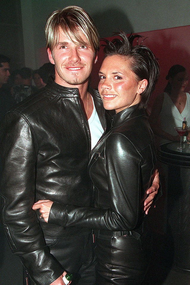 **David and Victoria Beckham**  At the London Versace store opening in June 1999.