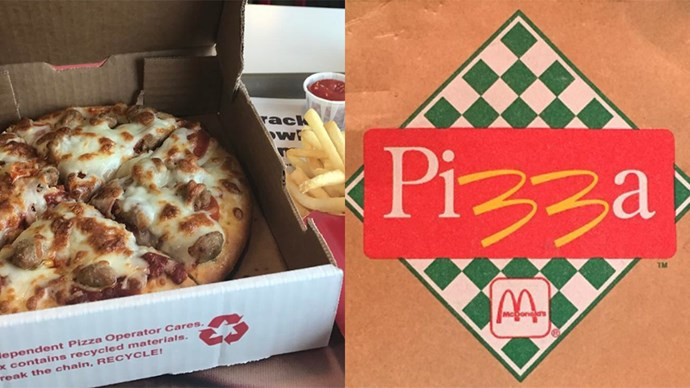 **America — *McPizza*:** There's something about McDonald's pizza that feels so wrong and yet so *right*. Unfortunately for us, it's only available in two U.S. locations — Pomeroy, Ohio, and Spencer, West Virginia. Who's up for the trip? Us. We are.