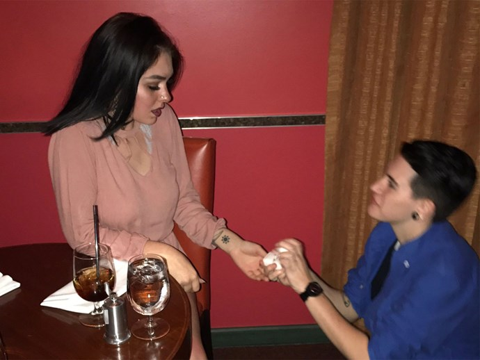 Friends fake proposal for free dessert