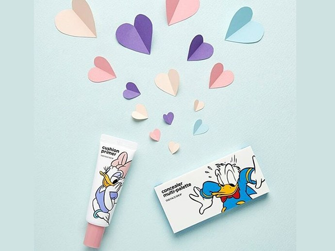 "Daffy and Daisy Duck [primer and concealer](http://www.thefaceshop.com/mall/etc/search.jsp?topSearchType=s_keyword&searchWord=disney|target=""_blank""