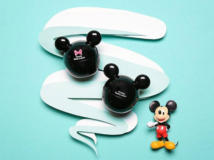 "His/her Mickey and Minnie Mouse [hand creams](http://www.thefaceshop.com/mall/etc/search.jsp?topSearchType=s_keyword&searchWord=disney|target=""_blank""