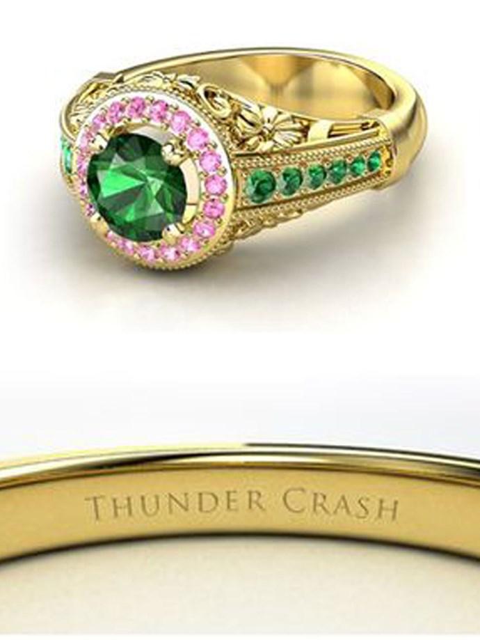 "**Sailor Moon: Sailor Jupiter**   Customise at [Gemvara](https://www.gemvara.com/jewelry/primrose-ring/round-emerald-18k-yellow-gold-ring-with-pink-tourmaline--emerald/dp4l2|target=""_blank""|rel=""nofollow"")."