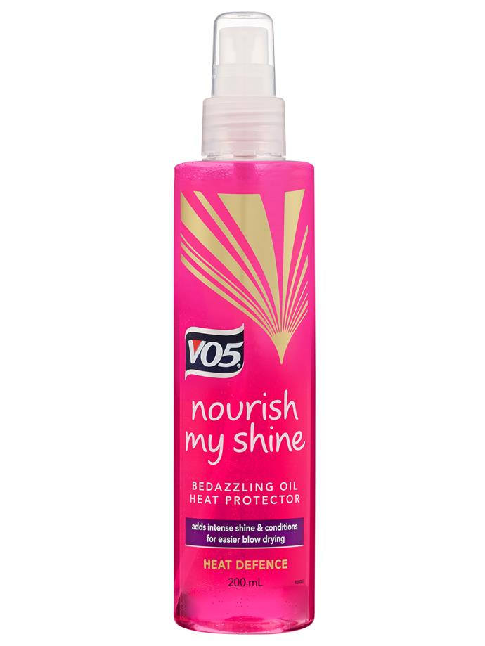 "VO5 Nourish My Shine Bedazzling Oil Heat Protection Spray, $7.99, at [Priceline](https://www.priceline.com.au/v05-nourish-my-shine-bedazzling-oil-heat-protection-spray-200-ml|target=""_blank""