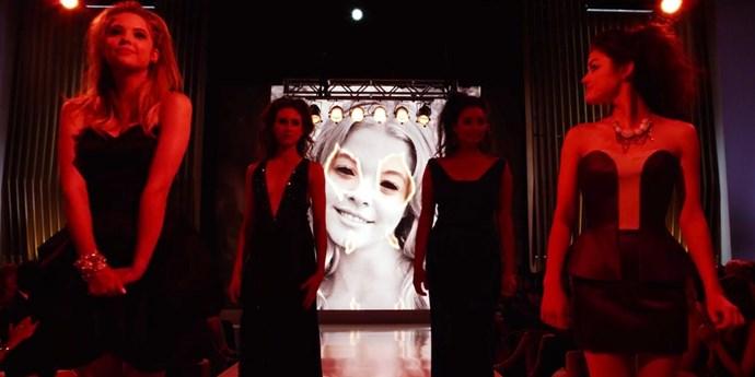 **Fashion show sabotage**  Good job making it look satanic.