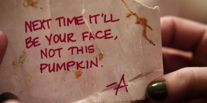 **Pumpkin face**  Face-smashing threats are so 2011.
