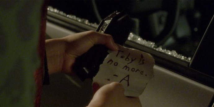 **Note in a coffin**  Where did this tiny coffin even come from?