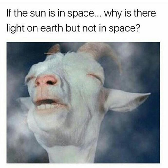 **B.o.B** also followed up his Flat Earth comments with this meme, which either implies that he doesn't believe in the sun, or that he doesn't think space exists. Either way whack.