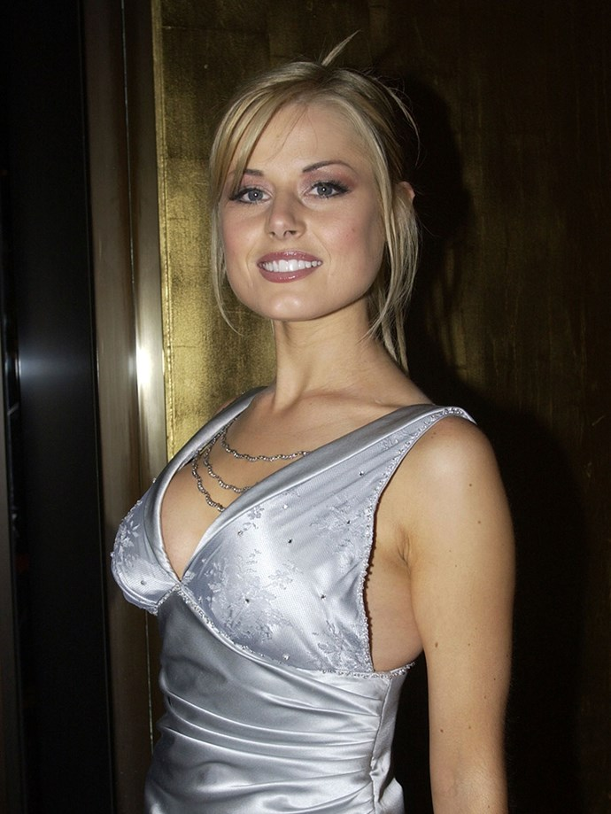 **Frosted Everything**  A side-fringe, on pencil-thin brow, on a frosted shadow, was a true, beauty trifecta. Let's not ignore the matching frosted dress.   *Madeleine West, aka, Dee Bliss from Neighbours, 2002.*