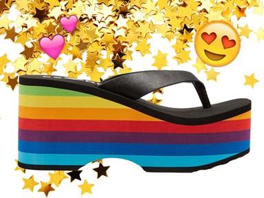 Your fave rainbow '90s platform thongs are baaaaack