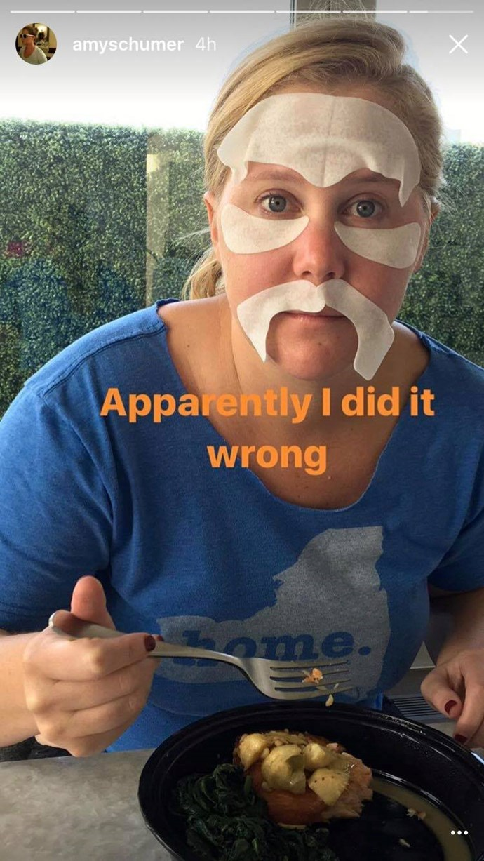 **Amy Schumer**  Never one to be left out, Amy Schumer jumped on the face mask bandwagon. However, we're not sure about her placement.