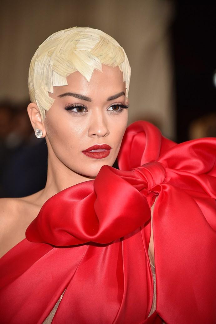 Rita Ora's blonde 'do can only be described as a helmet.
