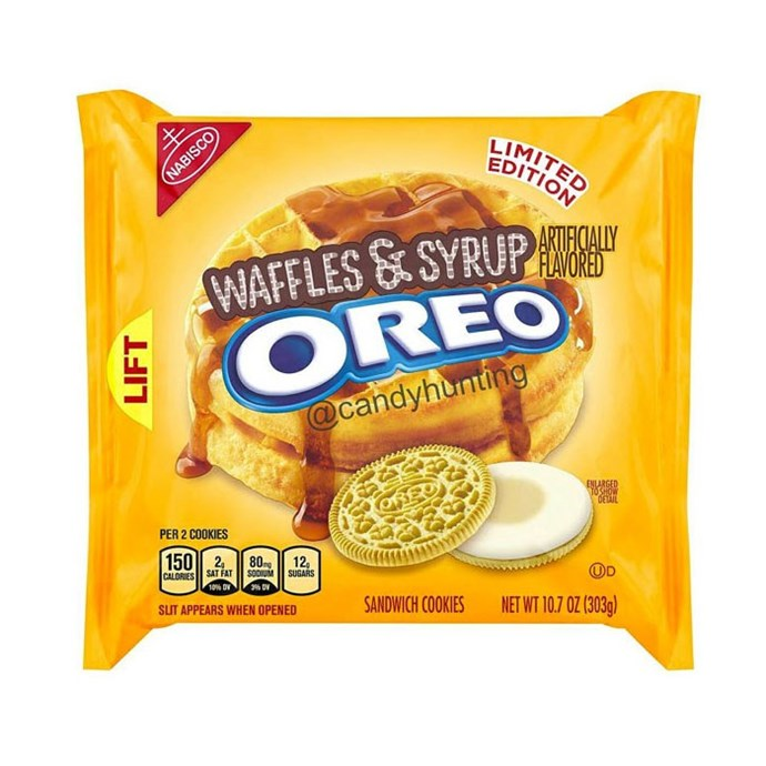 **Waffles & Syrup Oreo** <br><br> We imagine it would be like an American diner breakfast in a bickie.