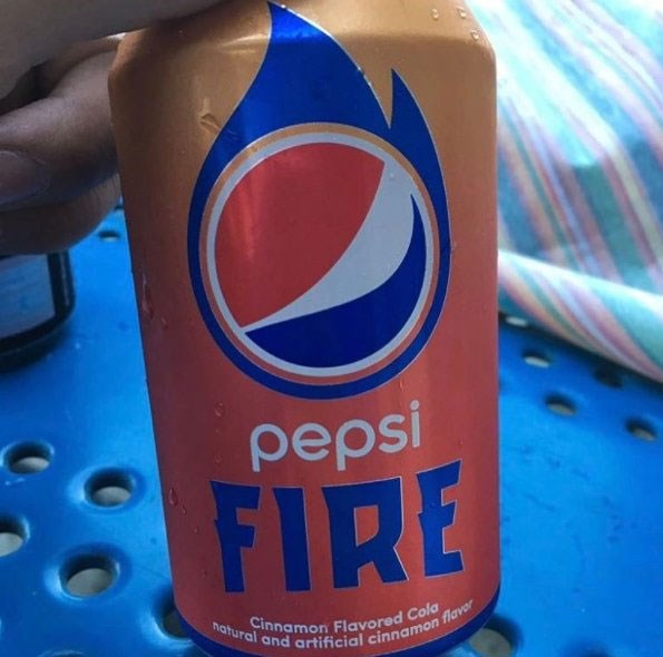 """**Pepsi Fire** <br><br> This """"cinnamon flavoured Cola"""" is more widely available in the U.S. as a limited edition Slurpee flavour. Apparently it tastes like your [throat is burning](http://www.delish.com/food-news/news/a53012/pepsi-fire-cinnamon-slurpees/), which sounds... great.  *Image: [@BrianSozzi](https://twitter.com/BrianSozzi/status/861994241584705539/photo/1)*"""