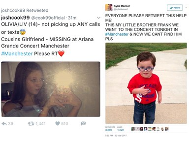 Trolls have been posting fake 'missing persons' on Twitter after the Manchester attack
