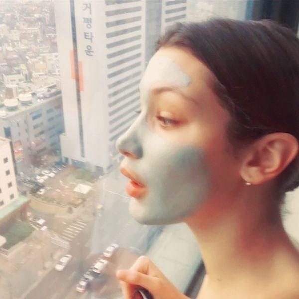 **The opaque spearmint clay masque**  Leaves skin soft as silk and looks super flattering too.   *@[Bellahadid](https://www.instagram.com/bellahadid/?hl=en)*