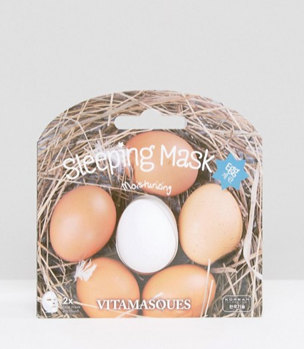 "**The Egg Mask**  Vitamasque 3D Egg Sleeping Mask, $14, at [Asos](http://www.asos.com/au/beauty-extras/vitamasque-3d-egg-sleeping-mask/prd/8092066?iid=8092066&clr=Egg&SearchQuery=face%20masks&pgesize=36&pge=0&totalstyles=81&gridsize=3&gridrow=7&gridcolumn=1|target=""_blank"")"