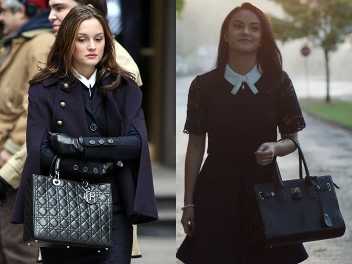 **1.** BOTH love crisp white collars, preppy hair, and carrying their black briefcase-inspired bags on their elbows.