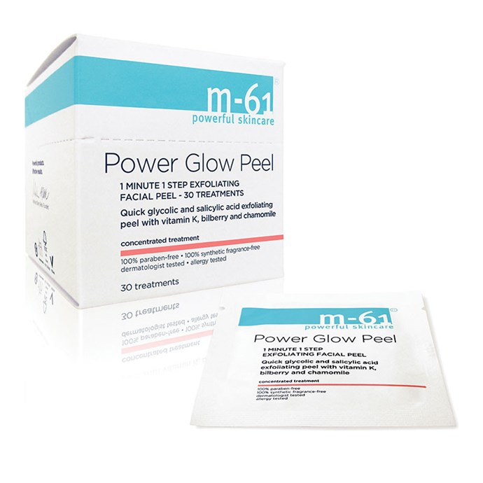 "These re-surfacing pads are another of her secret skincare weapons. They combat fine lines like nothing else.   M-61 PowerGlow Peel, $37.91, available at [M-61](https://m61labs.com/products/power-glow-peel|target=""_blank"")."