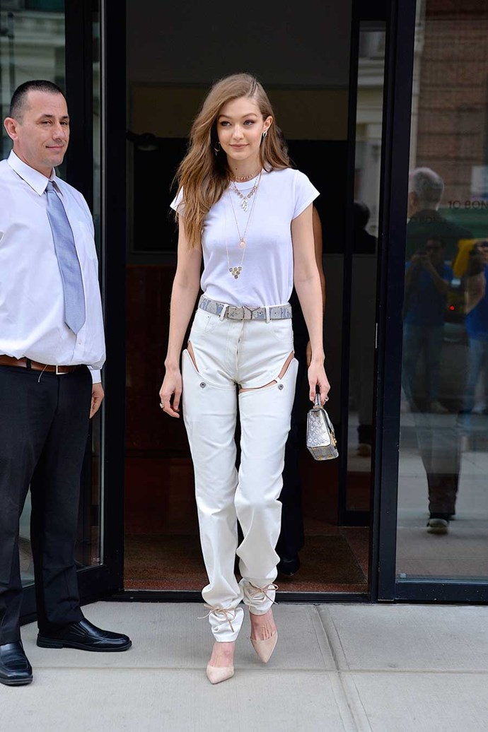 Yep, she went there. Gigi Hadid wore *those* convertible jean shorts and we don't even know anymore.