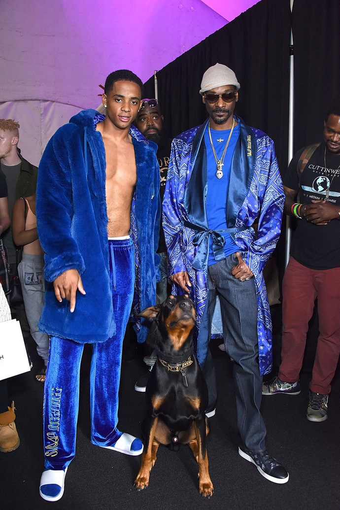 **Snoop Dogg**  In a real team effort, Snoop collaborated with his 20-year-old son, Cordell Broadus, and Joyrich, an L.A.-based streetwear brand, for a collection filled with all your Snoop style-loving needs, like varsity jackets and bandanna-inspired bikinis.