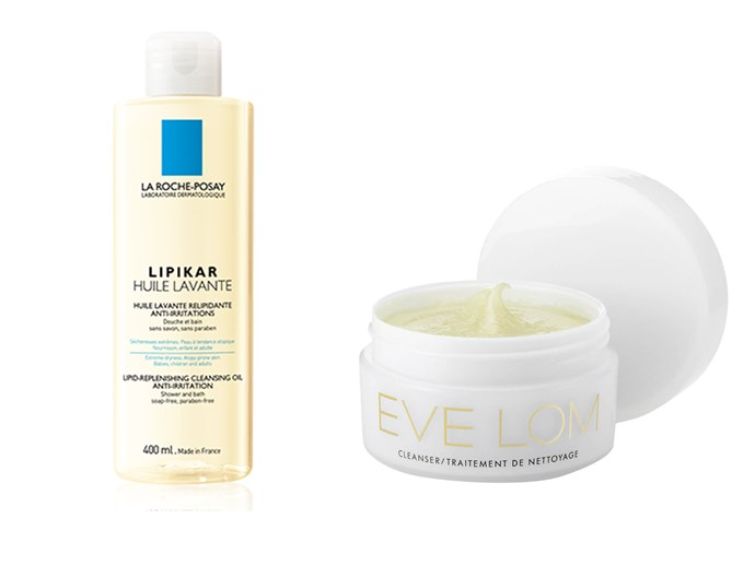 La Roche-Posay Lipikar Cleansing Oil, $28.49, at [Chemist Warehouse], Eve Lom Cleanser (includes small muslin cloth), $72, at [MECCA]