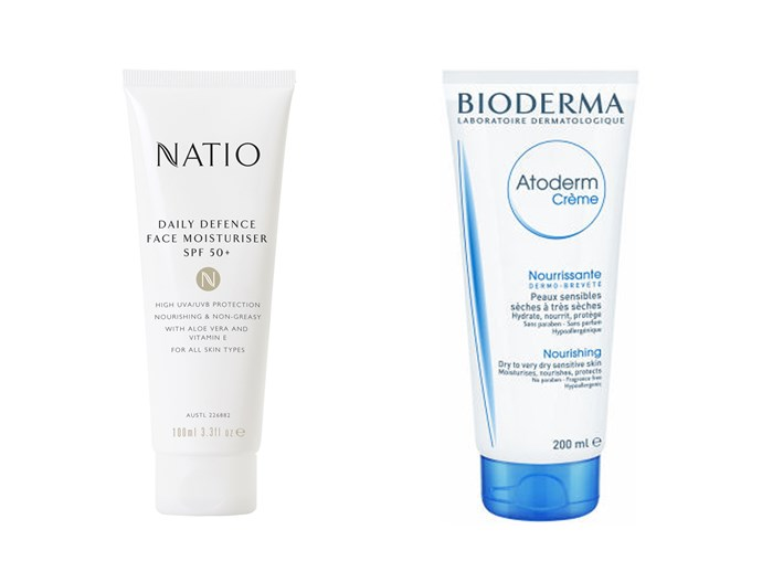 Natio Daily Defence Face Moisturiser SPF 50+, $17.95, at [Natio](https://www.natio.com.au/spf-50-body/daily-defence-face-moisturiser-spf-50), Bioderma Atoderm Nourishing Cream, $29.99, at [Adore Beauty](https://www.adorebeauty.com.au/bioderma/bioderma-atoderm-nourishing-cream-200ml.html?CAWELAID=255000110000005132&CAGPSPN=pla&CAAGID=42845397532&CATCI=aud-55659559703:pla-325353148233&gclid=CjwKEAjw4IjKBRDr6p752cCUm3kSJAC-eqRtByaJAbughkzCekQcdePYoxwYozIAJBZmUgcYU8yiNxoCzmzw_wcB)