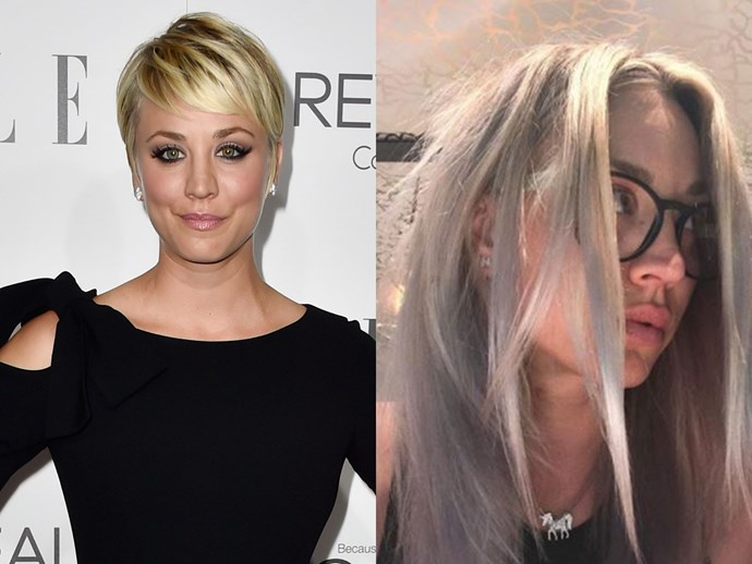 Your gal Kaley Cuoco is often quite experimental with the cut of her hair but, until now, she has always stuck to the same tone of honey blonde. Recently, the *Big Bang Theory* actress debuted a new, silvery blonde shade on Instagram.