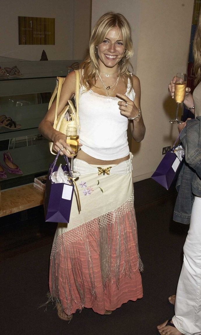 **7. The Boho Kween:** Sienna Miller was your style icon, meaning you were always rockin' a colourful maxi or crochet skirt, low-key hair, layered jewellery and anything with a bloody butterfly motif.