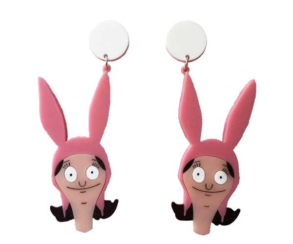 Underappreciated cartoon legend, Louise Belcher, and her signature bunny ears. Earrings, [$45](https://www.yippywhippy.com/products/copy-of-tina-belcher-earrings)