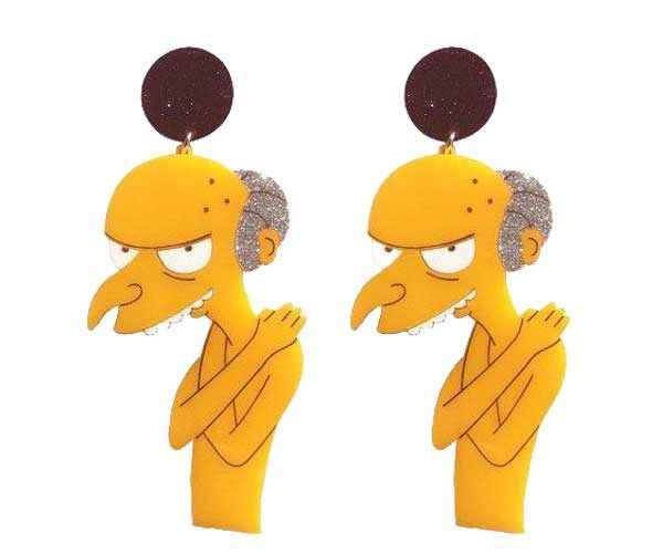 How 'bout Smithers' sex dream of Mr Burns emerging nekkid from his bday cake? Earrings, [$50](https://www.yippywhippy.com/products/mr-burns-earrings)