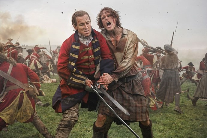 The Battle of Culloden gets personal for Black Jack Randall (Tobias Menzies) and Jamie Fraser (Sam Heughan). *Image: STARZ*