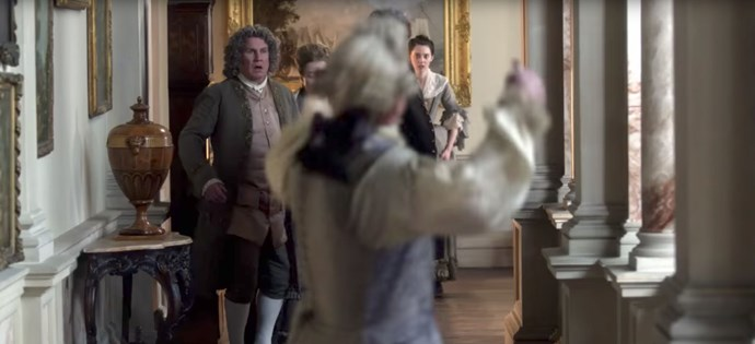 As Jamie fires a gunshot, Lord Dunsany (Rupert Vansittart) and Isobel (Tanya Renolds) look on in horror. *Image: STARZ*