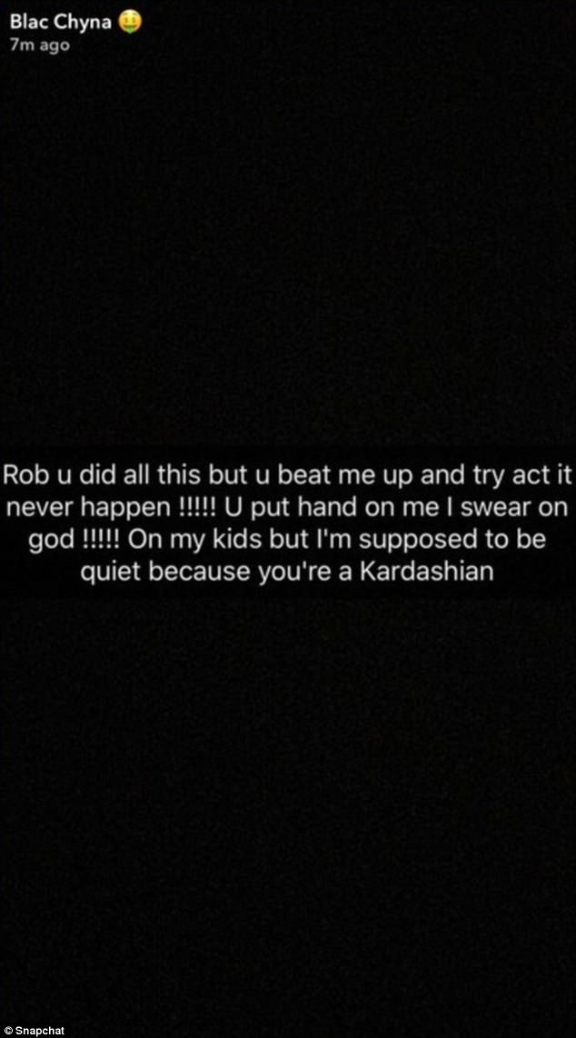 Chyna has not commented on Rob's recent posts, but she did write this Snapchat message (and then deleted it) accusing Rob of beating her up. Rob has not referenced this in his messages since, and Chyna has not elaborated on this claim.