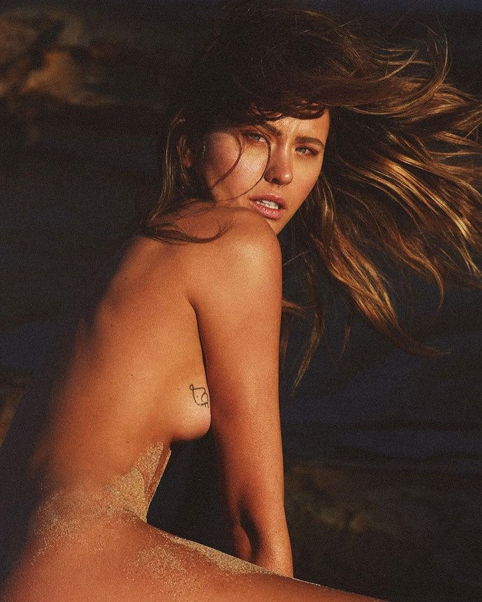 Jesinta Franklin has a few tattoos, but this dainty little pattern on the side of her right boob is rarely seen!