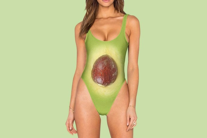 """FINALLY! A one-piece swimsuit that looks exactly like my Sunday morning brunch order"" - said nobody ever. This, um, [memorable number](https://www.belovedshirts.com/products/avocado-one-piece-swimsuit-high-legged) will set you back less than a fiddy but, tbh, that's still almost fiddy bucks too much."