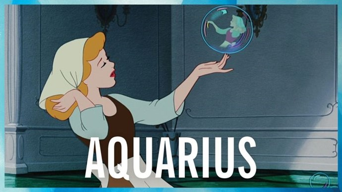 **AQUARIUS** <br><br> The Water Bearer is one of the friendliest signs, and like Cinderella, you'll strike up a conversation with anybody, even the mice that live in your room. That eccentricity is what makes you so lovable, but it can also get in your way sometimes — like when you decide to make your own ball gown out of your mom's vintage castoffs, with the help of birds. Just let your fairy godmother handle this one, OK?