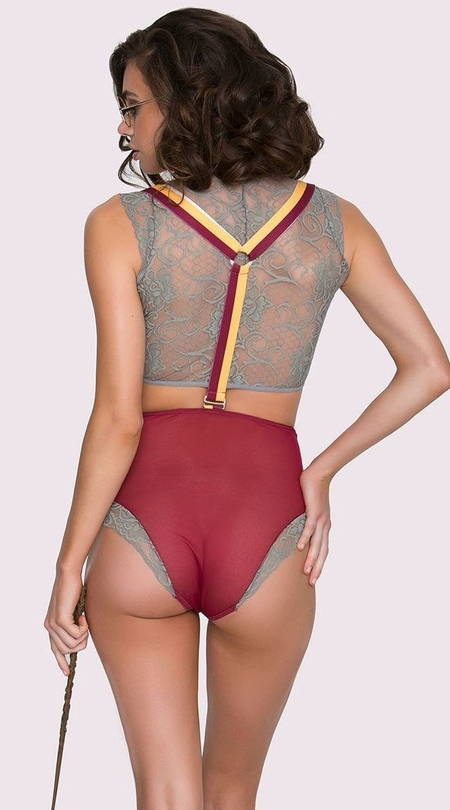 """**Gryffindor**  Harry Potter set, $43 (approx.) at [Yandy](http://www.yandy.com/Yandy-Magical-Student-Fantasy-Lingerie-Costume.php