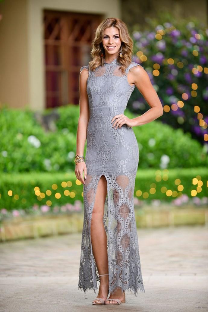 **Alix** <br><br> Dress: [Grace & Heart](http://www.theiconic.com.au/grace-heart/) <br><br> Shoes: [Tony Bianco shoes](http://www.tonybianco.com.au/) <br><br> Earrings, Bracelet & Ring: [Sally Skoufis](http://www.sallyskoufis.com/)