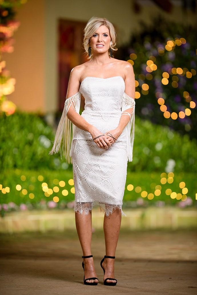 **Michelle** <br><br> Dress: [Giselle & Sophia](https://www.giselleandsophia.com.au/) @ [white runway](https://whiterunway.com.au/) <br><br> Shoes: [Novo Shoes](https://www.novoshoes.com.au/) <br><br> Earrings & Cuffs: [Sally Skoufis](http://www.sallyskoufis.com/)