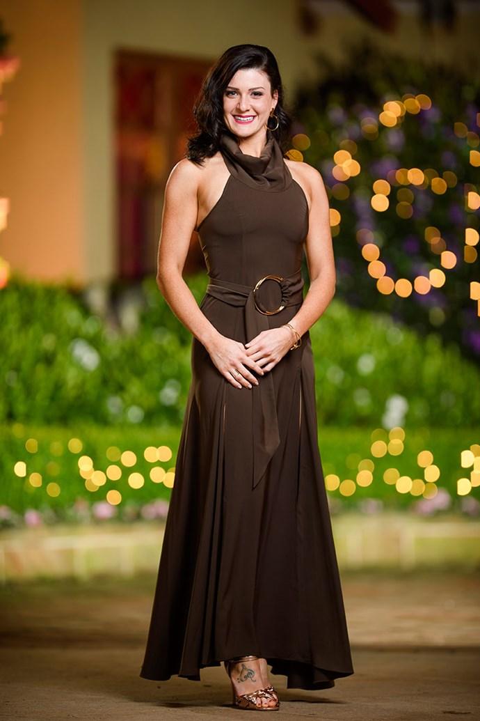 **Sharlene** <br><br> Dress: [Shona Joy](  @ [white runway](https://whiterunway.com.au/)  <br><br> Shoes: [Novo Shoes](https://www.novoshoes.com.au/) <br><br> Earrings, Bracelet & Ring: [Holly Ryan](https://www.hollyryan.com.au/)