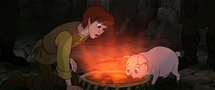 **1985: *The Black Cauldron***  Remember one slide ago when it felt like we had hit rock bottom? Welcome to 1985, the year Disney decided it'd be a good idea to make a terrifying animated fantasy film that, if watched once, will give you nightmares for the rest of your life.