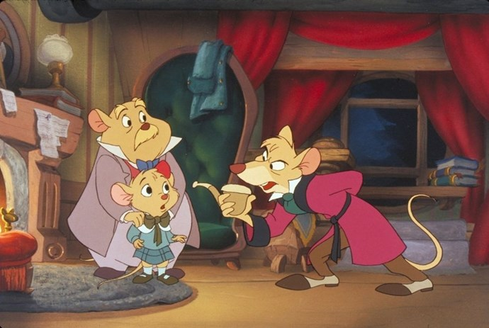 **1986: *The Great Mouse Detective***  Sherlock Holmes wishes he were as clever as Basil of Baker Street, the rodent sleuth who investigates the disappearance of a toy-maker. Adventure abounds as Basil tracks down the culprit to be Ratigan — one of Disney's most underrated villains — who's planning to kill the mouse queen of England.