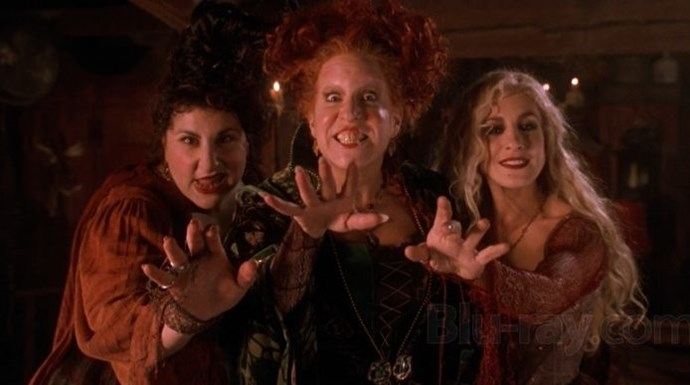 **1993: *Hocus Pocus***  After several massive wins, Disney didn't release an animated movie in 1993 under the main banner. But the studio did introduce us to three witches (including one played by Bette Midler) who come back to life to terrorise Salem, Massachusetts. Thanks to airings every October on the Disney Channel and ABC Family, it's now a cult favourite. This was also the year that *The Nightmare Before Christmas* hit cinemas, making 1993 Peak Halloween.