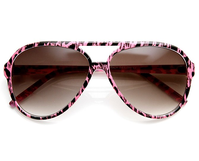 **Pink Leopard-Trim Aviators**