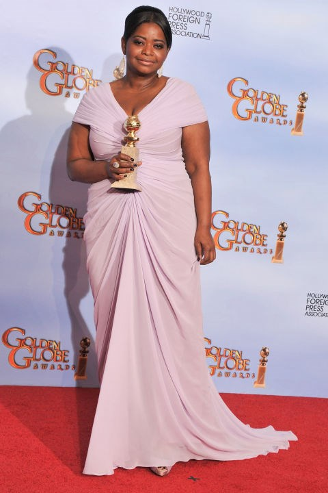 """**Octavia Spencer**<br><br>  Oscar-winner Spencer spoke out about the difficulty of finding a designer to dress her for the Golden Globe Awards back in 2012, even though she was a nominee (and eventual winner) on the night. <br><br> """"I'm just a short, chubby girl,"""" the actress told reporters at the Palm Springs Festival. """"It's hard for me to find a dress to wear to something like this. It's a lot of pressure, I'll tell you. No designers are coming to me."""" <br><br> She eventually wore a lilac Tadashi Shoji gown (pictured), and later joked: """"Maybe I should have sworn off peanut butter last year instead of this year."""" Never."""