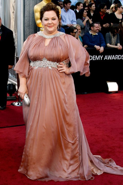 """**Melissa McCarthy**<br><br>  McCarthy may have been nominated for a Best Supporting Actress Oscar for her hilarious turn in *Bridesmaids*, but she still couldn't find a designer to dress her for the 2012 Academy Awards.  <br><br> """"Two Oscars ago [in 2012], I couldn't find anybody to do a dress for me. I asked five or six designers - very high-level ones who make lots of dresses for people - and they all said no,"""" she told *[Redbook](http://www.redbookmag.com/fashion/interviews/g787/melissa-mccarthy-interview/?click=list#last-slide